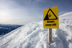 Danger steep cliff mountain sign Royalty Free Stock Images