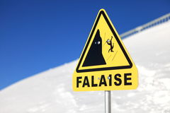 Danger steep cliff mountain sign Royalty Free Stock Image