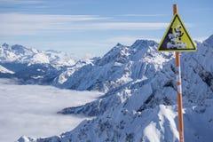 Danger steep cliff mountain sign Royalty Free Stock Photos