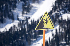 Danger steep cliff mountain sign Stock Photography