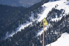 Danger steep cliff mountain sign Royalty Free Stock Photography