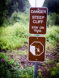 Danger Step Cliff, Stay on Trail Sign Stock Photos