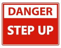 symbol Danger Step Up Wall Sign on white background vector illustration