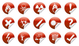 Danger sticker icon. Isolated  Danger icon sign collection (set) with shadow on background Royalty Free Stock Photography