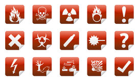 Danger sticker icon. Danger icon sign collection (set) with shadow on background Stock Photo