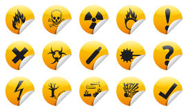 Danger sticker icon. Danger sign collection (set) with shadow on background Stock Photos