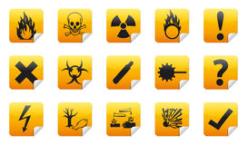 Danger sticker icon. Danger icon sign collection (set) with shadow on background Stock Photography