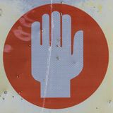 Danger Stop sign of human hand.  Stock Image