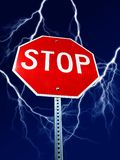 Danger Stop Sign with Lightning Royalty Free Stock Photography