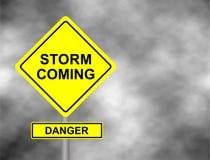 Danger storm coming road sign . Yellow hazard warning sign against grey sky - tornado warning, bad weather warning, vector illustr Stock Photography