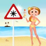 Danger sunburn. Funny illustration of danger sunburn Stock Photos