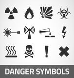 Danger symbols. Common Danger black symbols set Stock Photo