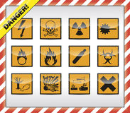 Danger symbols. Icon, button colletction Stock Images