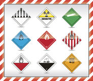 Danger symbols. Mixed Danger symbols with reflection Stock Images