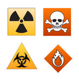 Danger symbols and signals. Illustrated signals of hazard and danger as radioactive, death risk, bio-hazard and flammable Stock Photos