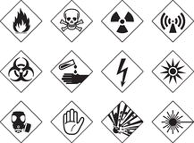 Danger symbols. Twelve danger/warning signs in black Vector Illustration