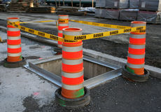 Danger tape barrier Stock Photo