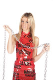 Danger tape chain Royalty Free Stock Photo