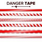 Danger Tape Vector. Red And White. Warning Tape Strips. Realistic Plastic Police Danger Tapes Set Illustration vector illustration