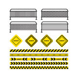 Danger tapes, danger sign, metal fence. Yellow with black line and danger tapes, danger sign, metal fence. Vector illustration isolated on white background Royalty Free Stock Image