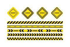 Danger tapes, danger sign Royalty Free Stock Image