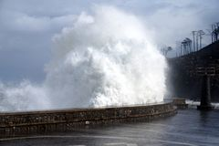 Danger temporal waves crashing on Spain Stock Images