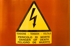 Danger Tension Sign. Warning sign from high tension, high voltage. Danger of death. or fatal injury Royalty Free Stock Photography