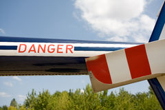 Danger text on the helicopter Stock Photography