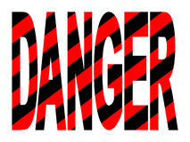 Danger text with stripes Stock Photos