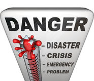 Danger Thermometer Measuring Levels Of Emergency Stock Photo