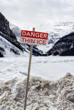 Danger thin ice sign Royalty Free Stock Image