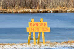 Danger thin ice sign Stock Photos