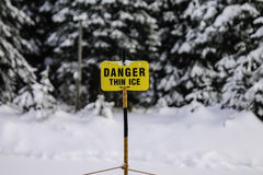 Danger Thin Ice. A Danger Thin Ice warning sign Stock Photos