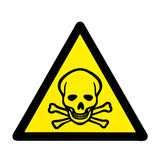 Danger to life skull and crossbones warning sign. Mortal danger to life skull and crossbones warning sign isolated on white royalty free stock photography