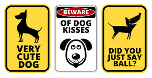 Danger. Too Cute Dog Signs Humorous Comic Labels and Plates Collection. Vector EPS8 set Stock Photography