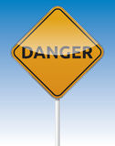 Danger traffic. Isolated  Danger traffic board with reflection Royalty Free Stock Photos