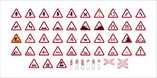 Danger traffic signs Royalty Free Stock Photo