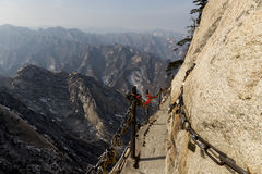 The Danger trail planks of Mount Huashan, China. royalty free stock image