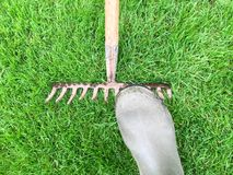 Danger. Tripping hazard. Treading on an upturned garden rake can be dangerous royalty free stock photography