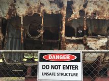 Danger: unsafe structure. Royalty Free Stock Photography