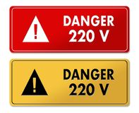 Danger 220V warning panels in French translation. In 2 colors Stock Photos