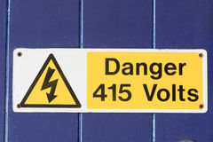 Danger 415 volts sign with symbol Royalty Free Stock Photography