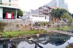 Danger: walk on the river of wooden bridge Stock Photography