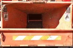 DANGER! WARNING!. Danger signs flank both sides of the business end of a large commercial chipper Stock Photography