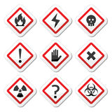 Danger, warning, attention square icons set Royalty Free Stock Photos