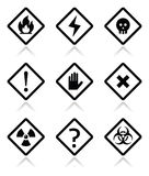Danger, warning, attention square icons set. Vector risk, danger icons set  on white Stock Photography
