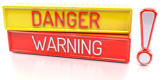 Danger Warning - 3d banner,  on white background. Danger Warning - red and yellow 3d banner,  on white background Stock Images
