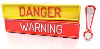 Danger Warning - 3d banner,  on white background Stock Images