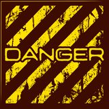 Danger warning grunge background. Danger warning grunge banner with red and yellow stripes. Vector illustration Stock Photos