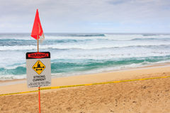 Danger warning of high surf Royalty Free Stock Images